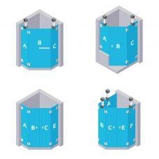 Fünfeck Dusche - aus ESG Glas (Einscheibensicherheitsglas)