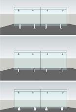 Ganzglasgeländer Aussen, Montage mit Bodenglasklemmen- Sicherheitsglas