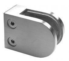 Glasklemme viereckig 63/45 mm, f. Rohr 48,3mm, Glas: 8,00mm bis 12,76mm, V2A