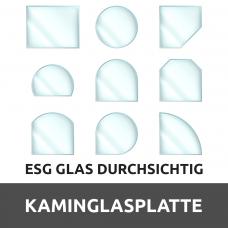 Kaminglasplatte aus ESG Glas Durchsichtig