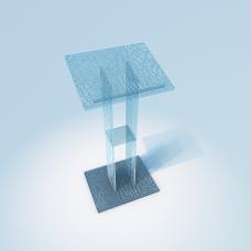 Glas Rednerpult, Katheder aus Crashglass Klar