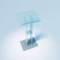 Glas Rednerpult, Katheder aus ESG Glas Klar (Durchsichtig)