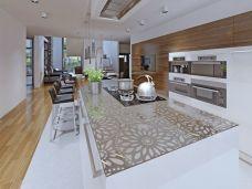 Küchenarbeitsplatte aus ESG Durchsichtig mit Motive Sandstrahlen Konfigurieren