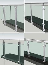 Ganzglasgeländer Aussen mit Pfosten Boden- und Seitenmontage - Sicherheitsglas