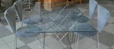 Tischplatte aus Crashglas