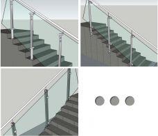 Treppengeländer, mit Pfosten Boden / Seiten Montage