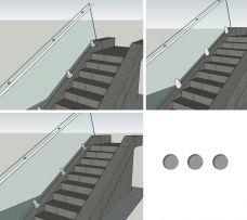 Treppengeländer, Montage mit Bodenglasklemmen