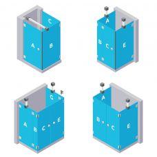 U-Form Dusche - aus ESG Glas (Einscheibensicherheitsglas)