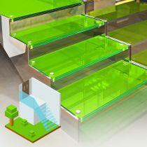 Glastreppen aus VSG, Begehbares glas durch farbige Folie (durchsichtig)
