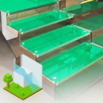 Glastreppen aus VSG, Begehbares getöntes Glas durchsichtig