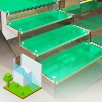 Glastreppen aus VSG, Begehbares getöntes Glas Matt