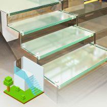 Glastreppen aus VSG, Begehbares Glas (Matt)