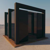 Pavillon aus VSG getöntes Glas durchsichtig