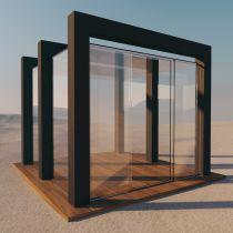 Pavillon aus VSG Glas (Klar)