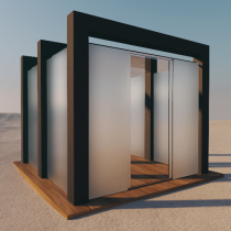 Pavillon aus VSG Glas (Matt)