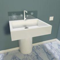 Spritzschutz für Waschbecken aus ESG Durchsichtig mit Motive Sandstrahlen Konfigurieren