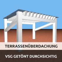 Terrassenüberdachung aus VSG getöntes Glas durchsichtig
